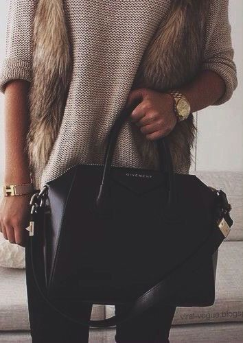 knit sweater + faux fur #givenchy #hermes