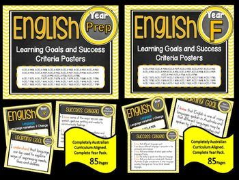 Prep/Foundation  All English Learning Goals & Success Criteria! Compatible with ALL STATES - AUSTRALIAN CURRICULUM This packet has all the posters you will need to display the learning goals for the whole year: Prep or Foundation Australian Curriculum English Reading and Writing - Speaking and Listening (Language, Literature, Literacy) All content descriptors have been reworded into smart goals with an accompanying poster showing the success criteria needed to achieve these goals.