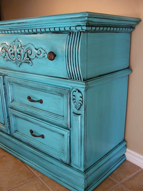 Turquoise with Black Glaze: Paintings Furniture, Grey Rooms, Idea, Color, Refurbished Furniture, Turquoise Black Glaze, Old Dressers, Tv Cabinets, Facelift Furniture