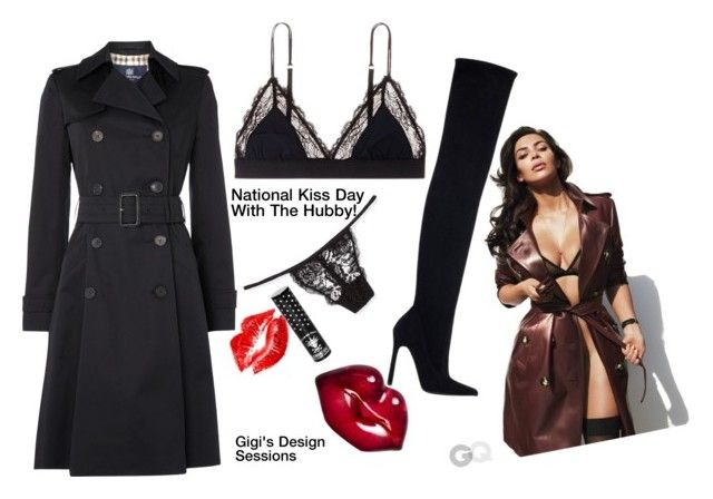 """NATIONAL KISS DAY!"" by gigi-sessions ❤ liked on Polyvore featuring Aquascutum, LoveStories, Cosabella, Zara, Kosta Boda and Manic Panic NYC"