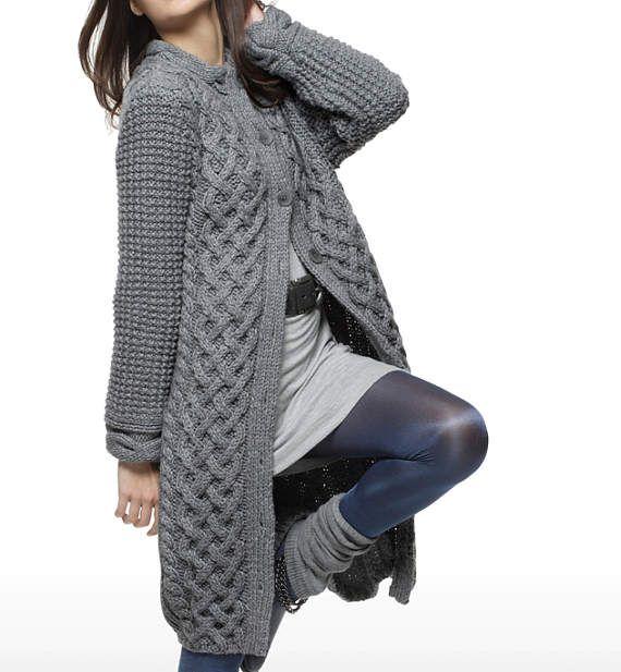 Chaqueta mujer mano mano punto capa aran de la mujer suéter