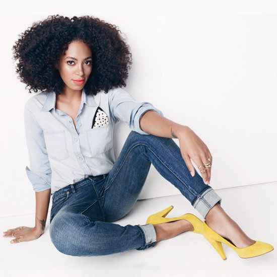 Solange Knowles #Madewell Ad Campaign Fall 2012 - #denim on denim with a pop of color in the shoes