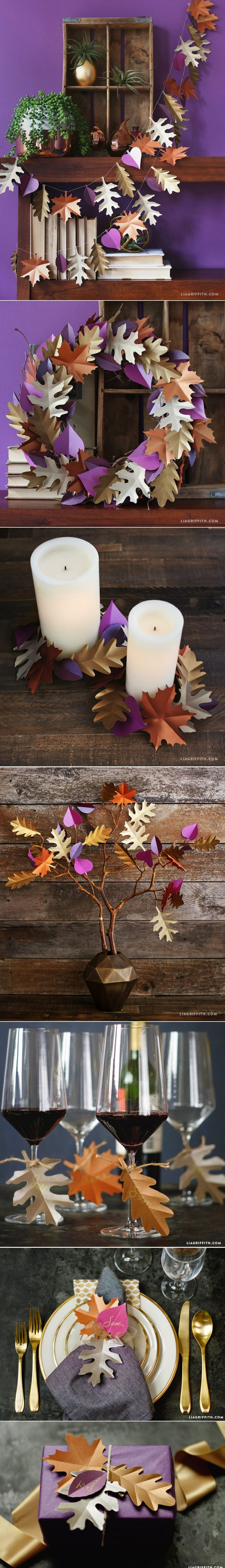 #falldecor #paperart #paperleaves #paperflowers #diydecor #decorateforfall www.LiaGriffith.com - created via https://pinthemall.net