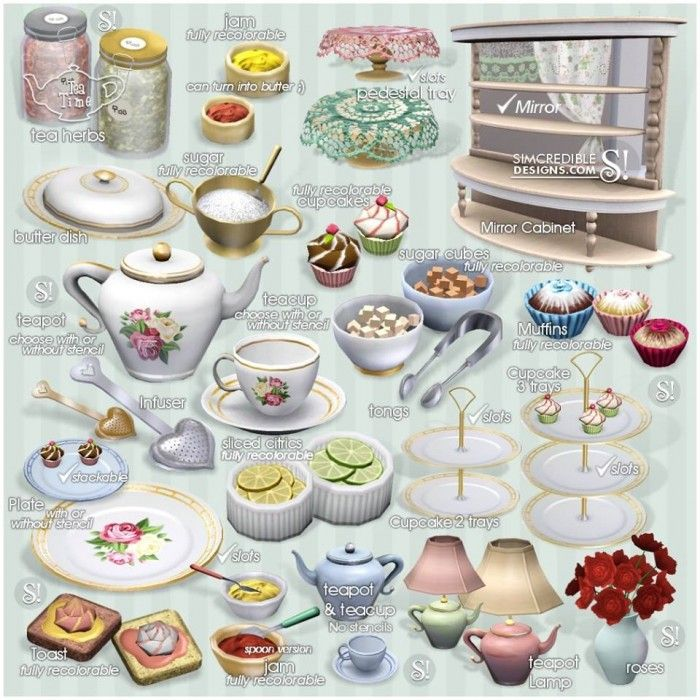 Tea Time Set 21 New Meshes Donation And Free By