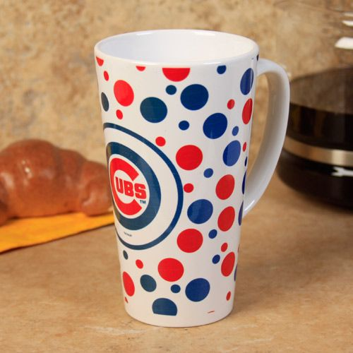 Chicago Cubs White Polka Dot Latte Mug by The Memory Company | Sports World Chicago $15.95  @Chicago Cubs #ChicagoCubs