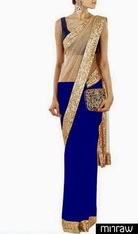 Beautiful chic royal blue & gold party wear saree.