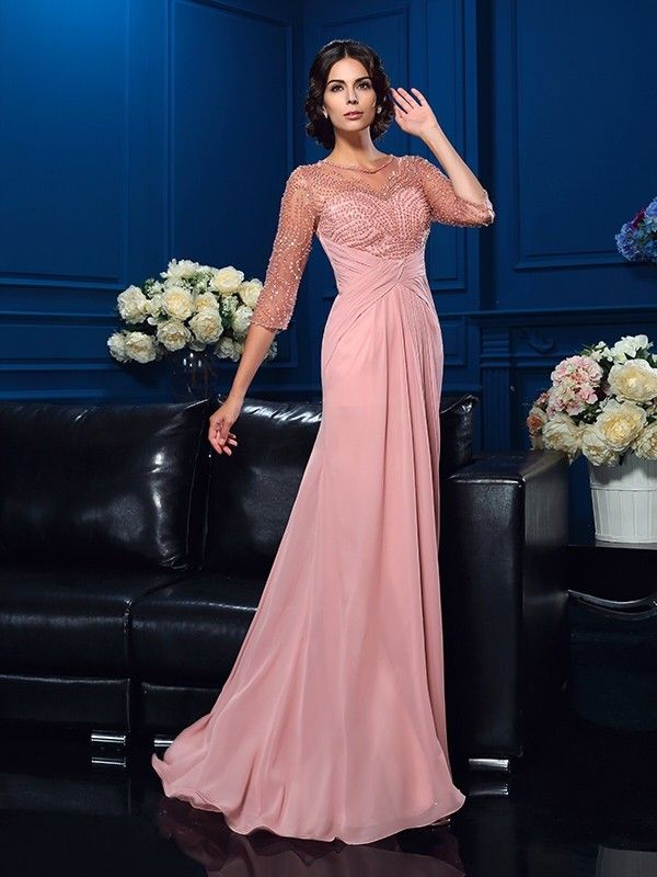72aff832783b A-Line Princess Scoop Beading 3 4 Sleeves Long Chiffon Mother of the Bride  Dresses - Mother of the Bride Dresses - Hebeos Online