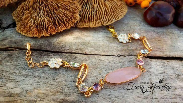 Bracciale dorato rosa regolabile color oro, by Evangela Fairy Jewelry, 9,00 € su misshobby.com