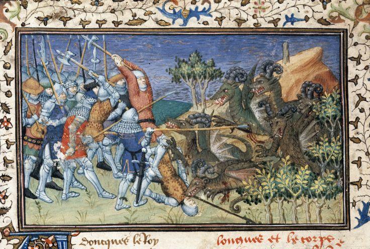 Battle with sheep-horned dragons   Historia de proelis in a French translation (Le Livre et le vraye hystoire du bon roy Alixandre)   France, Central (Paris)   c. 1420