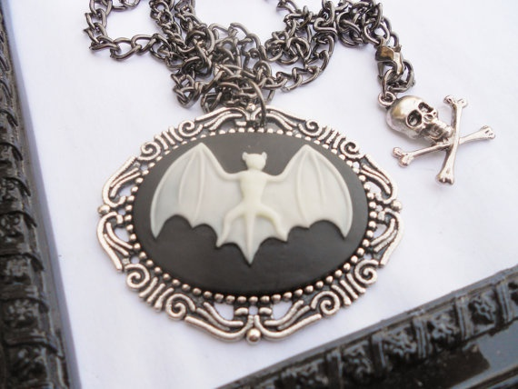Bat Cameo Necklace and Brooch by LEBEAUTYEXORCIST on Etsy, $18.00: Brooches, Etsy, Cameo Necklaces, 1800, 18 00, Lebeautyexorcist, Bats Cameo
