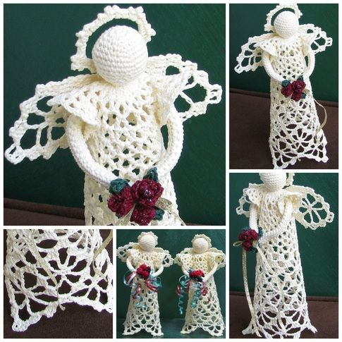 Angels in August Sale at Heritage Heartcraft - Lovely 'Lacy Angel' is a great medium size, standing about 7 inches tall, and stunning in her simplicity. Pictured worked in cream with burgundy roses and gold ribbon in her bouquet, she may be ordered in any color combination you desire! thread crochet angel