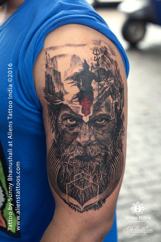 Mortal Journey of Lord Shiva Tattoo by Sunny Bhanushali at Aliens Tattoo Mulund. This is some extra-ordinary black and grey art work done by Sunny. The roots of the tattoo are very profound as the client wanted to dedicate this tattoo to his brother who recently passed away. He was very firm on getting a Lord Shiva art, as he is the ultimate master. So keeping the purpose in mind Sunny developed this powerful double exposure Aghori and Shiva design with...