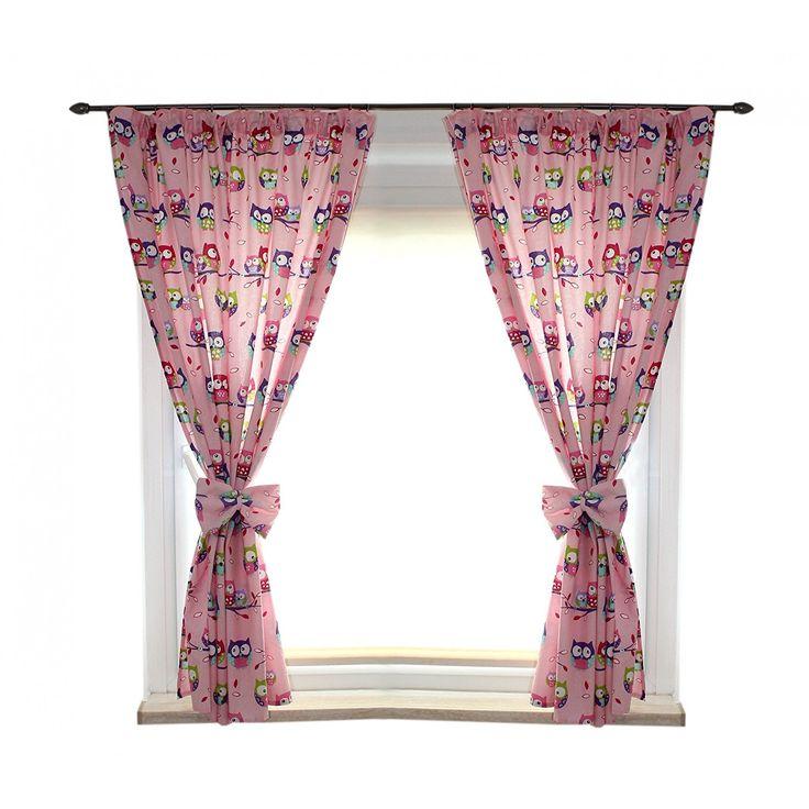2er Set Gardinen Kinderzimmer Vorhänge mit Schleifen ca. 155x155 cm Dekoschal mit Kräuselband Kindergardinen, Farbe: Eulen 2 Rosa