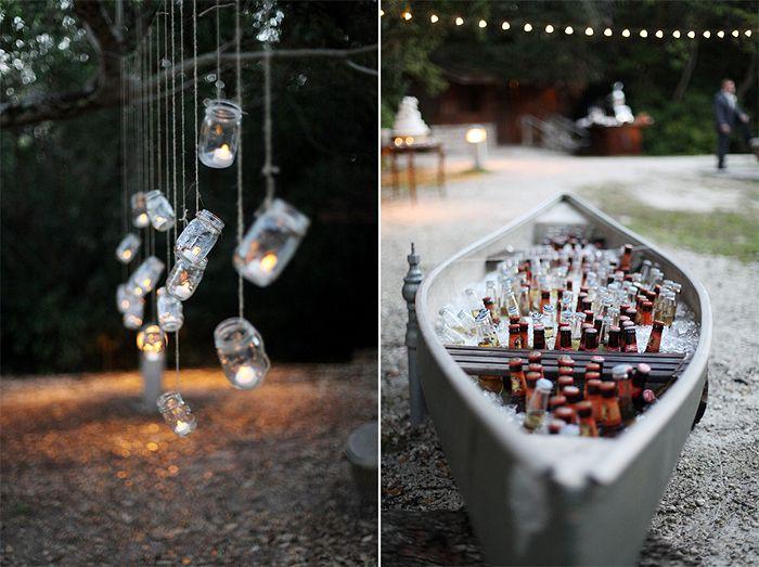 rustic woodsy DIY vintage wedding miami florida canoe + mason jar lighting