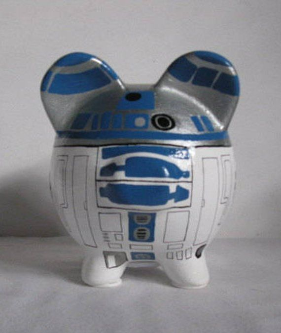 Small R2d2 Piggy Bank Made To Order Each Bank Can Be Personalized With A Name Of Your Choosing Each Bank Is Handpa Personalized Piggy Bank Piggy Bank Piggy