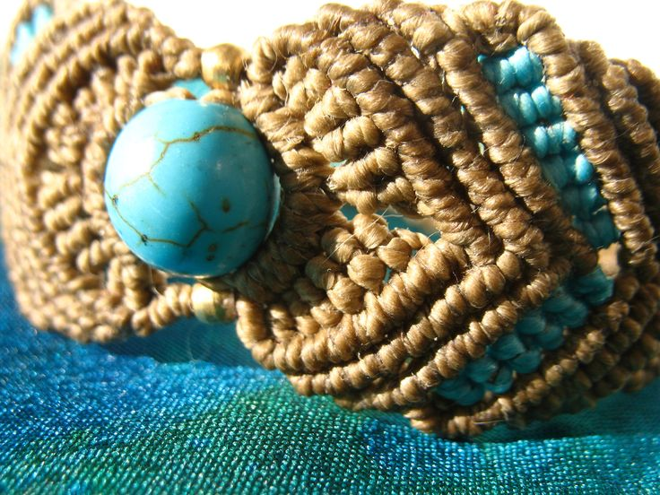 Macrame bracelet with turquoise. 100% Handmade. Brown and blue. Boho jewelry. Hippie. Tribal. Yoga. Surf. by PeterPanCreations on Etsy