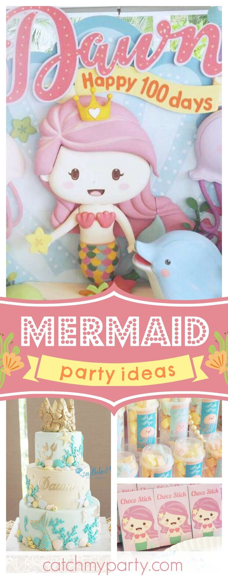 Don't miss this wonderful Mermaid birthday party! The birthday cake is stunning!! See more party ideas and share yours at CatchMyParty.com  #mermaid #underthesea #girlbirthday