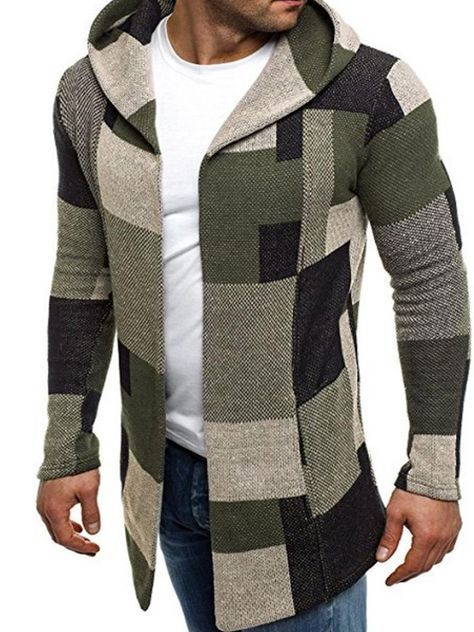 331dfc99f 32.99 chiclucy.com SUPPLIES IN STOCK - Patchwork Mid-Length Long Sleeve  Hooded Cotton Men s Coats in 2019