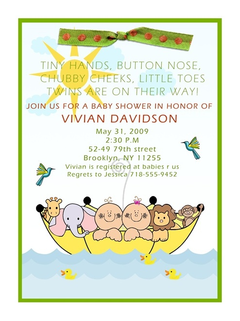 Noahu0027s Ark Twins Baby Shower Invitations