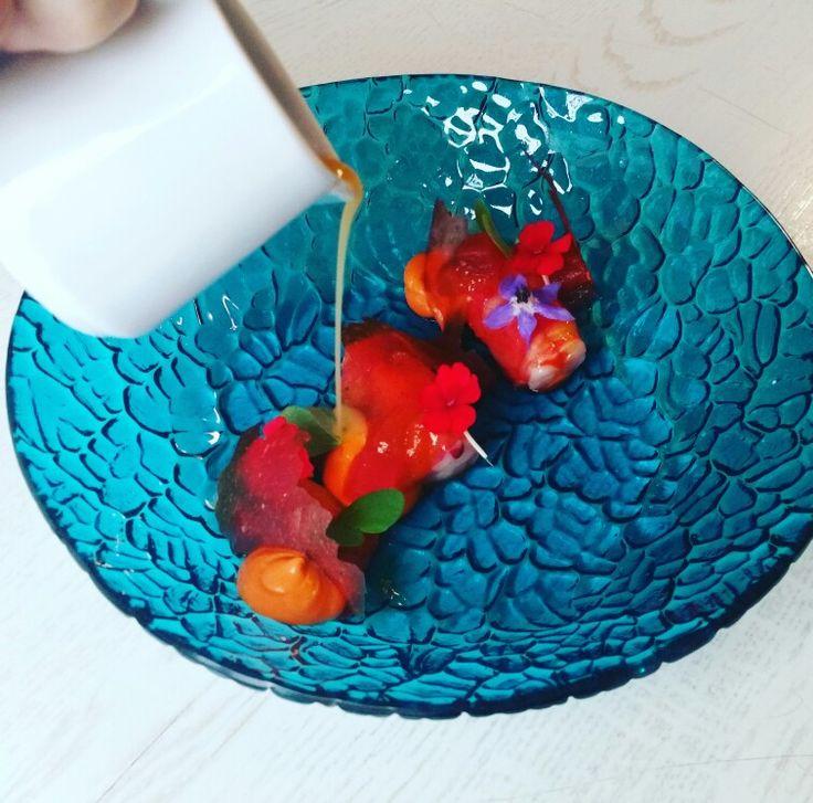 #Sabores #saborestapas #carabinero #shrimp #food #edible #flowers