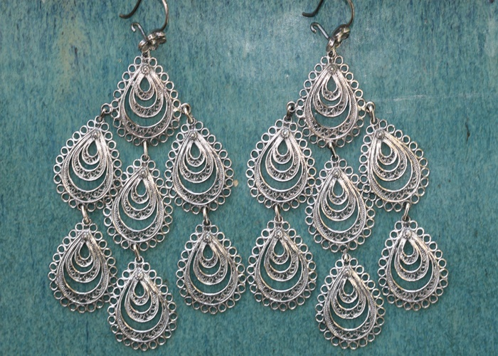 Portuguese PAVAO DROP Earrings      oxidized sterling silver