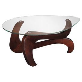 """Glass top coffee table with a curving base.   Product: Coffee tableConstruction Material: Stainless steel, wood and glassColor: Rich merlot and brushed nickelFeatures: Triangle pencil edge shaped 8mm tempered glass top Dimensions: 18.13"""" H x 43.25"""" W x 33.63"""" D"""