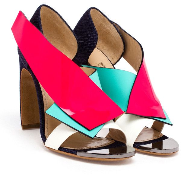 Roksanda Multi-Coloured Open Toe Sandals (1.835 RON) ❤ liked on Polyvore featuring shoes, sandals, heels, multi color sandals, mint green sandals, multi colored shoes, colorful sandals and open toe heel sandals