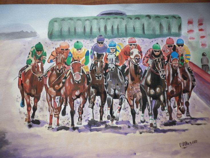 carrera de caballos - acuarela -