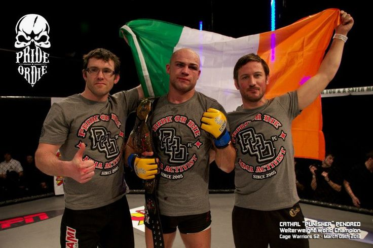 """Cathal """"Punisher"""" Pendred - Cage Warriors Welterweight World Champion. Tshirt PRiDEorDiE """"P.O.D."""" http://www.prideordie.com/en/t-shirts/27-t-shirt-pod.html  Credit photo: Cage Warriors/Dolly Clew"""