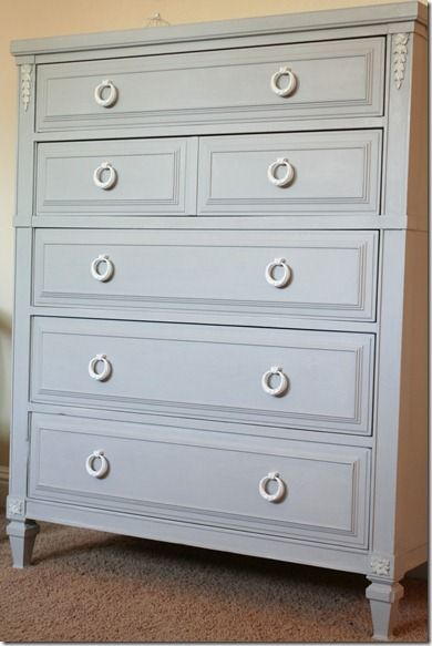 I painted her in Annie Sloan's Paris Grey Chalk Paint, and used the Soft Clear Wax.  I purchased the hardware off of Ebay, the best place to find inexpensive but great looking hardware.  I painted the pulls using some Krylon spray paint in Satin White that I had