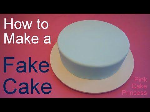 How to Make a Fake Cake or Dummy Cake / Covering a Styrofoam Dummy Cake - YouTube