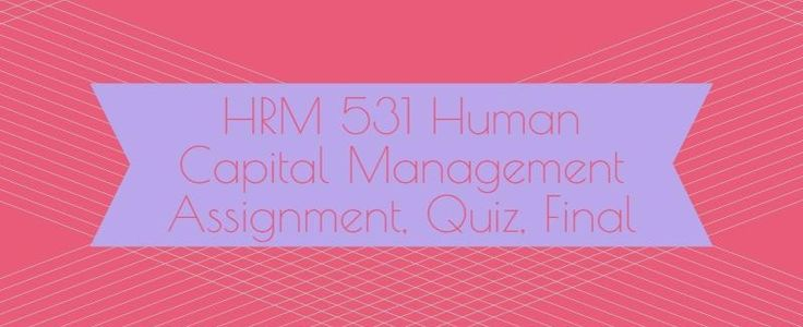 HRM 531 Human Capital Management Week 1 to 6Week 1Discussion Questions 1, 2, 3, 4Quiz (15 Questions and Answers)Week 2 Individual Assignment, Employment Law Compliance Plan (Two Papers)Discussion Questions 1, 2, 3 and 4Quiz (21 Questions and Answers)Week 3Learning Team Reflection Human Capital Manag