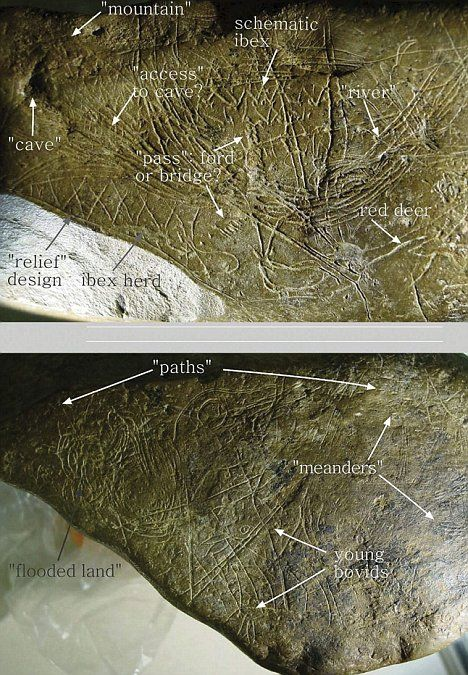 The Journal of Human Evolution has released pictures of what Spanish scientists say is a map etched in stone dating back some 13,660 years