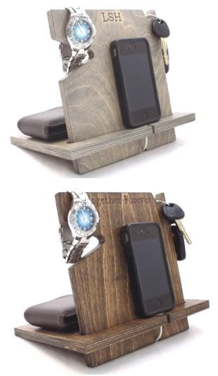 Looking for the perfect gift for him? This wooden docking station can be personalized and is compatible with all cell phones (with or without cases). Works great for iPads, tablets, and holding recipes in the kitchen too! Shop now at palmettowoodshop.com