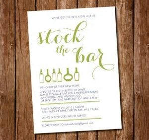 Image result for Stock the Bar housewarming Invitation Wording