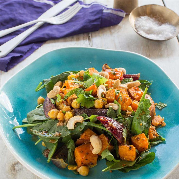 Caramelised Kumara and Chickpea Spinach Salad with Kaffir Lime and Cashews