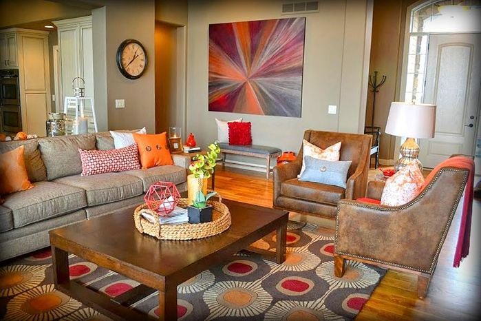Gray And Brown Living Room Rustic Pieces With Bold Contemporary Accents Make A Warm