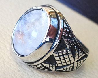 flashy moonstone men ring natural stone dur al najaf sterling silver 925 stunning genuine gem two ottoman arabic style jewelry all sizes