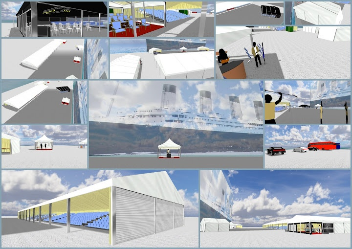 Selection of scenes mostly outside the marquees that were to be for Southampton's Titanic100 event, before the event was moved off the original berth in to the terminal building. This is just a collage of the stills which you can see better in the PDF at http://slidesha.re/HQ0VYg and www.cadification.com/titanic shows a video tour of this marquee! And www.cadification.com showcases other such CAD mockups & virtual tours we've done in case you really like it!