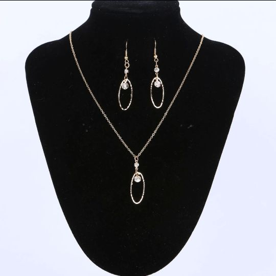 Studded Hoops Necklace and Earrings Set