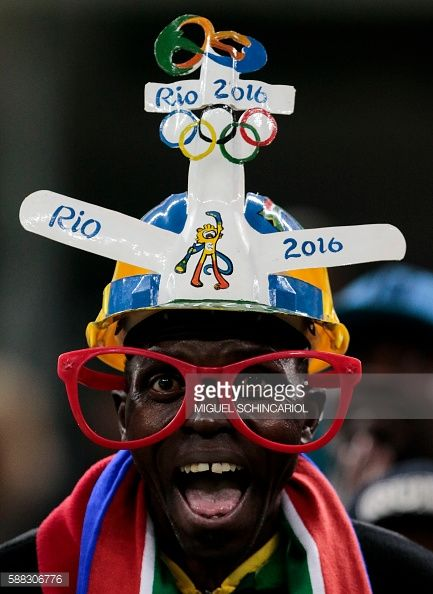 #RIO2016 #TOPSHOT Fans of South Africa cheer their team during their Rio 2016 Olympic Games First Round Group A men's football match South Africa vs Iraq at...