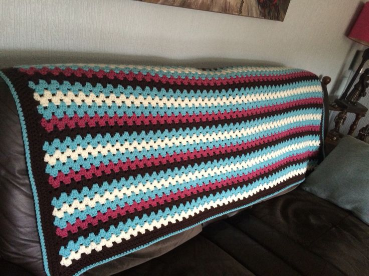 Chunky granny stripe blanket for mum and dad.
