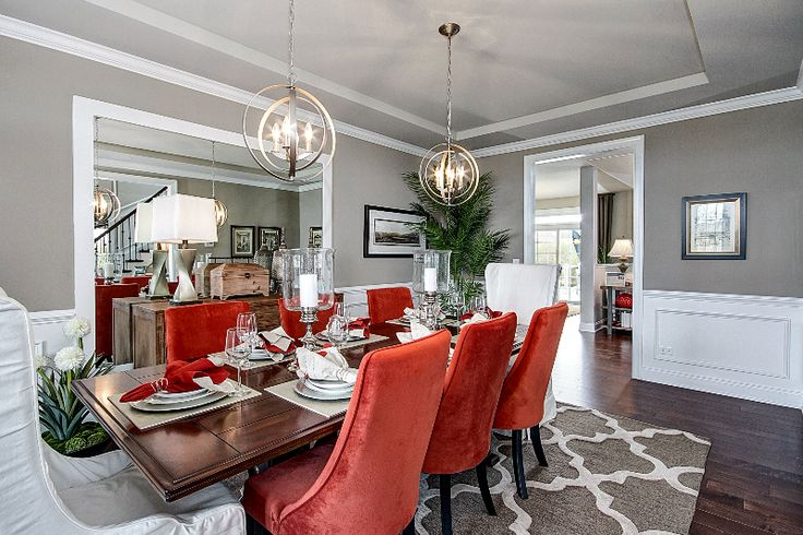 A pop of red will be sure to stand out in a dining room full of neutral colors. (Toll Brothers at Tanglewood Hills, IL)
