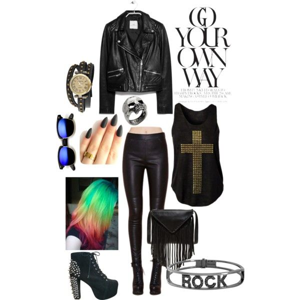 rock style by elenilor on Polyvore featuring MANGO, Jeffrey Campbell, J.J. Winters, Spallanzani, Bling Jewelry and John Richmond