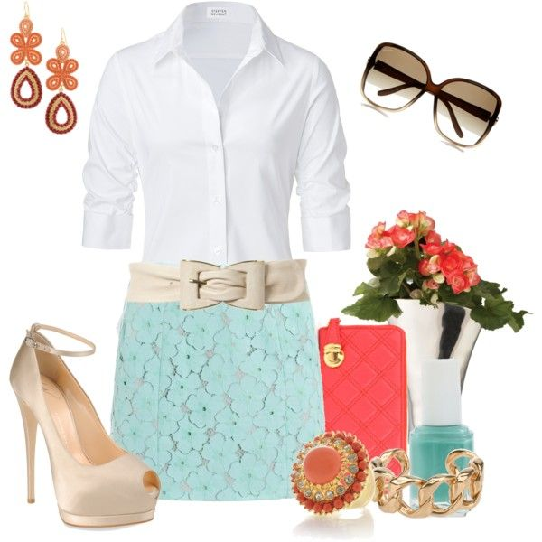 Laced in Turquoise & Coral,Business Outfit