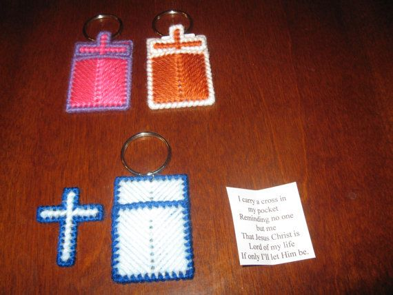 Plastic Canvas Cross In My Pocket Keychain Design 3