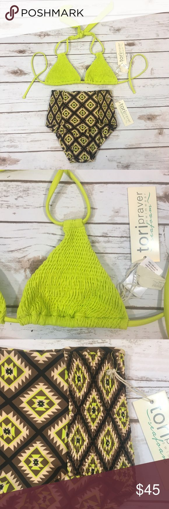 "Tori Praver High Waist Triangle Bikini Swimsuit Tori Praver Seafoam bikini swimsuit/bathing suit. Top is a bright chartreuse color, triangle style. Top does not have padding. Bottoms are brown geometric patterned and high waisted.  Both pieces are labeled size XS, womens.  Waist: 20-28"" Rise: 10.5"" Brand new with tags, no flaws to note. Tori Praver Swimwear Swim Bikinis"
