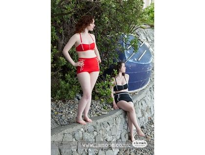 Fifties Racy Red Two-piece Swimsuit