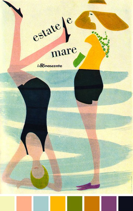 """Lora Lamm Illustration 2 """"Summer and Sea"""". Poster for summertime sales at La Rinascente department store, Milan. From Graphis Annual 60/61. From Sandi Vincent Flickr"""