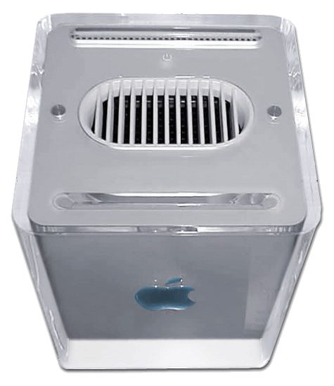 "PC HISTORY: ••Apple Power Mac G4 Cube•• 2000-08 > 2001-07 • 8"" cube! Suspended in acrylic glass enclosure • incl. 2 round transparent Harman Kardon speakers • 450 or 500 MHz / vertical DVD-ROM / ADC or VGA / 2 FireWire ports / 2 USB / connector / mini-plug headphone output / silent, fanless, convection-based cooling system • flop: no audio input / counter-aesthetic faint crack lines in early models / too expensive : even CD-RW + lower price ≠ save it • www.wikiwand.com/en/Power_Mac_G4_Cube"